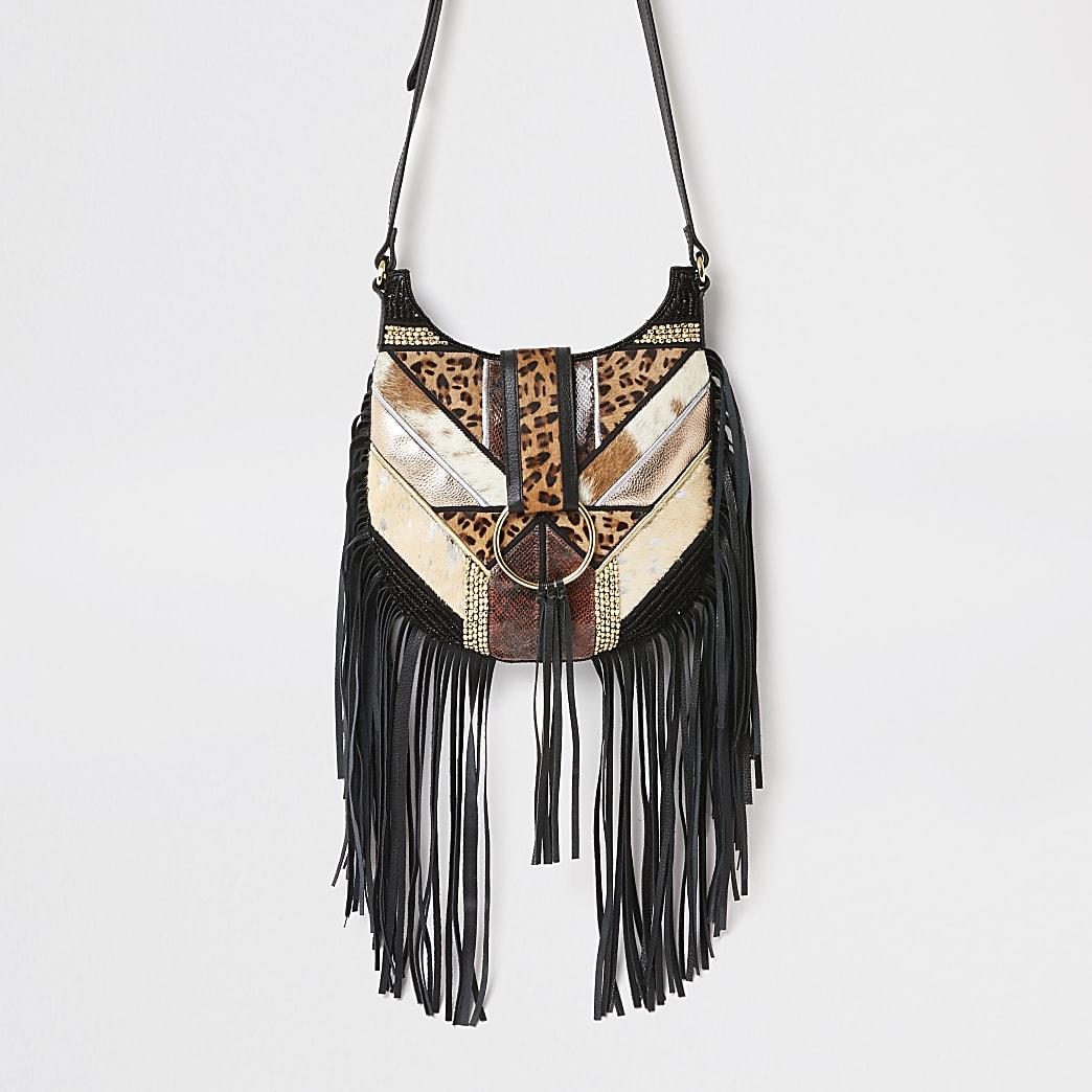 Black Animal cross body messenger Handbag