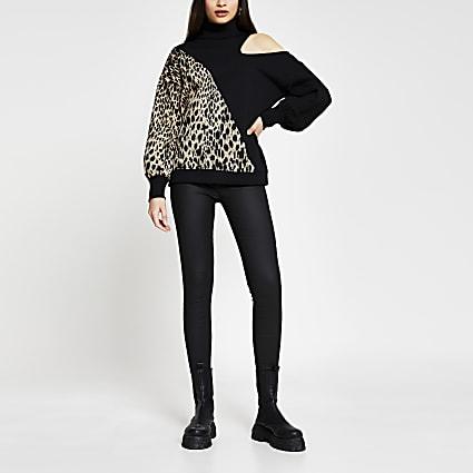 Black animal print asymmetric sweatshirt