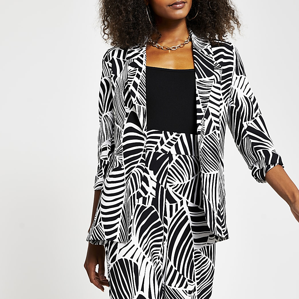 Black animal print belted blazer