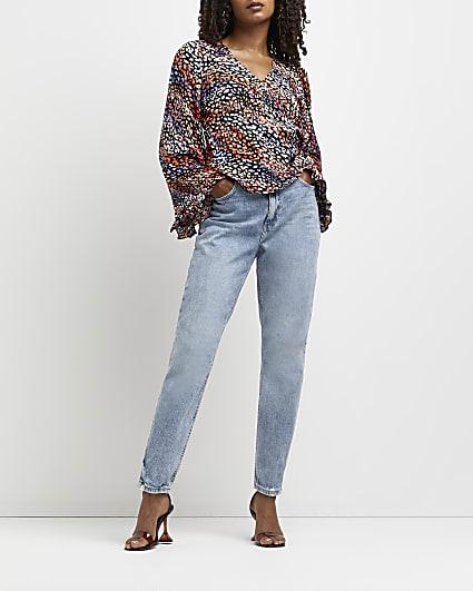 Black animal print blouse