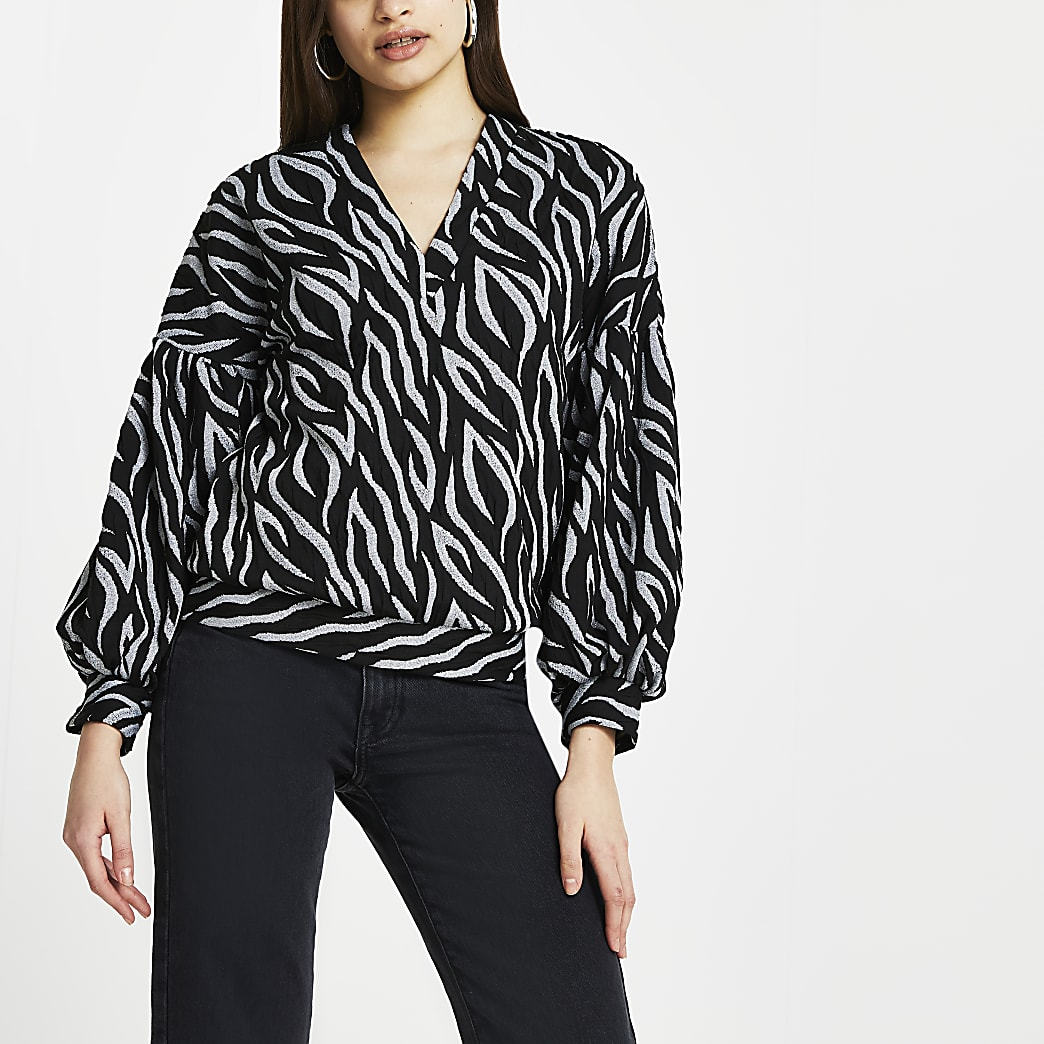Black animal print blouse