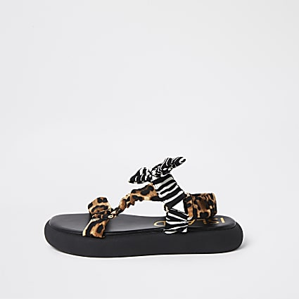 Black animal print bow strap sandals