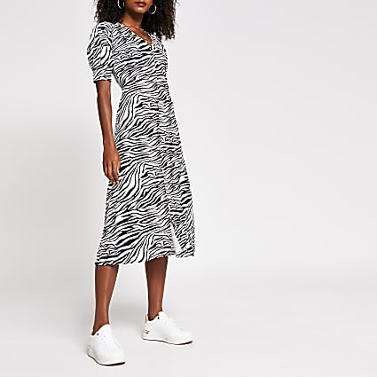 Black animal print button down dress