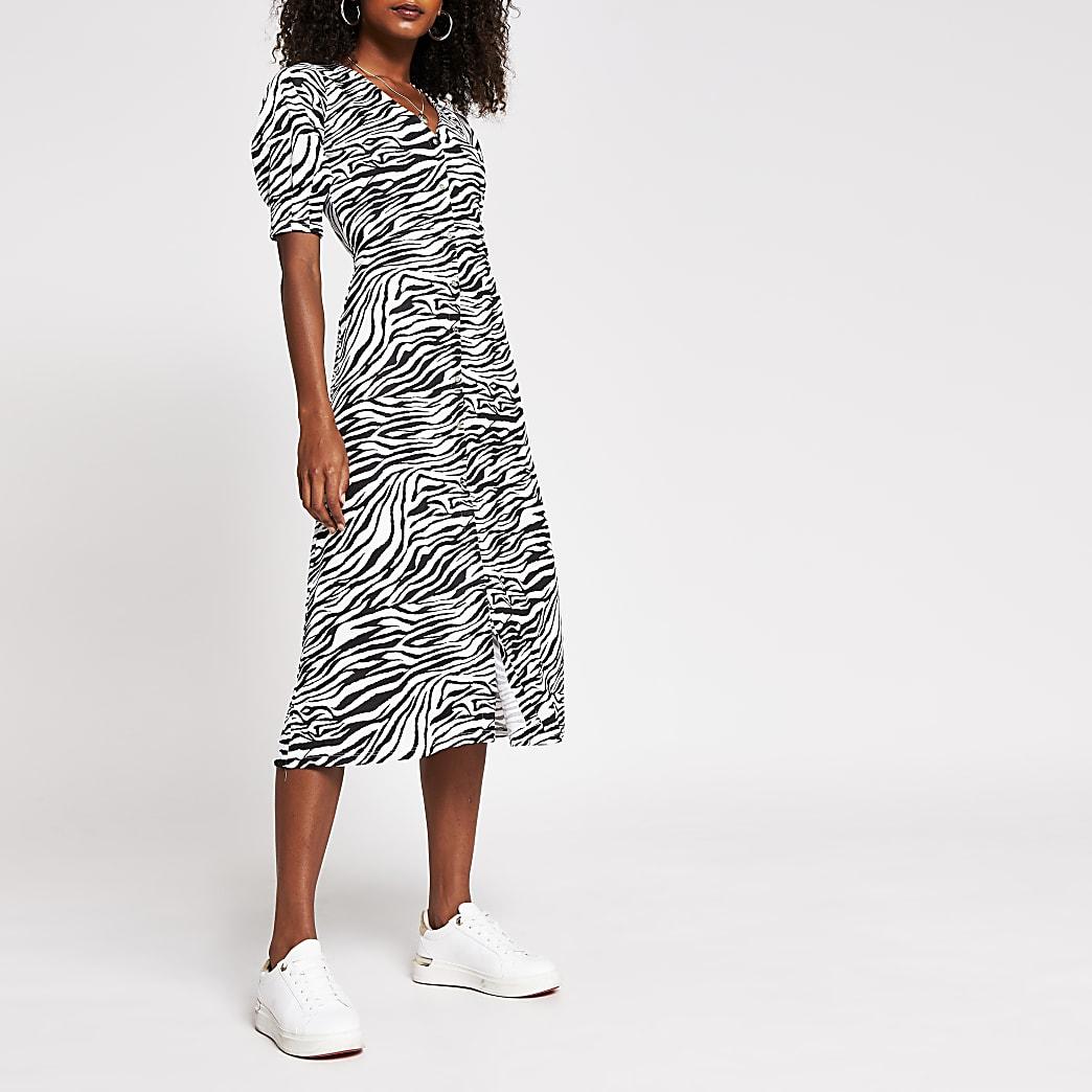 Black animal print button down dress