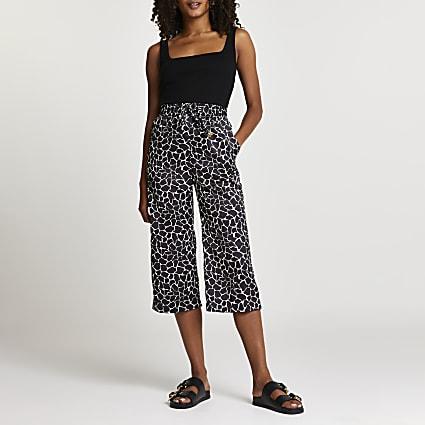 Black animal print crop wide leg trousers