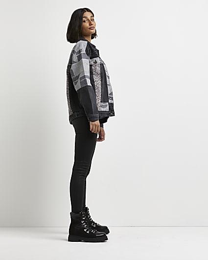 Black animal print denim jacket