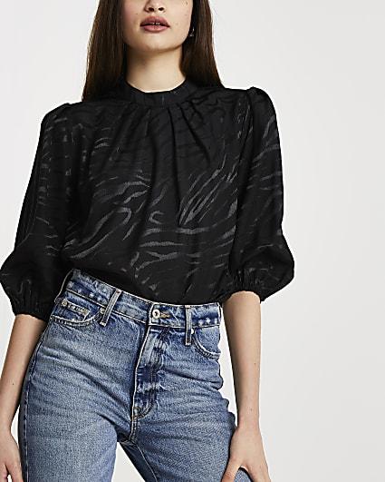 Black animal print jacquard blouse