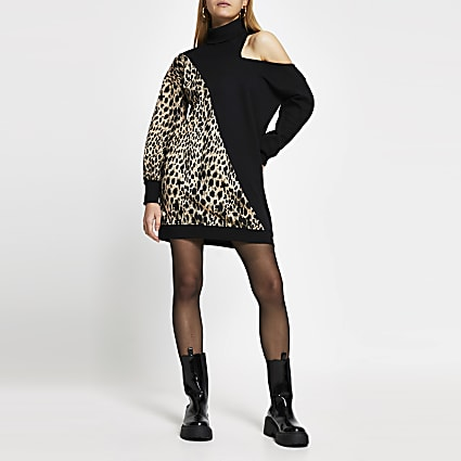Black animal print long sleeve sweater dress