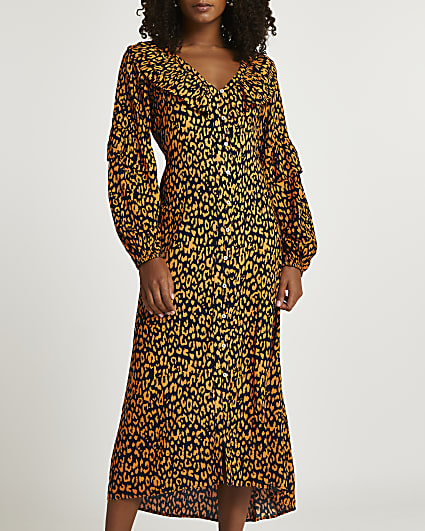 Black animal print midi dress