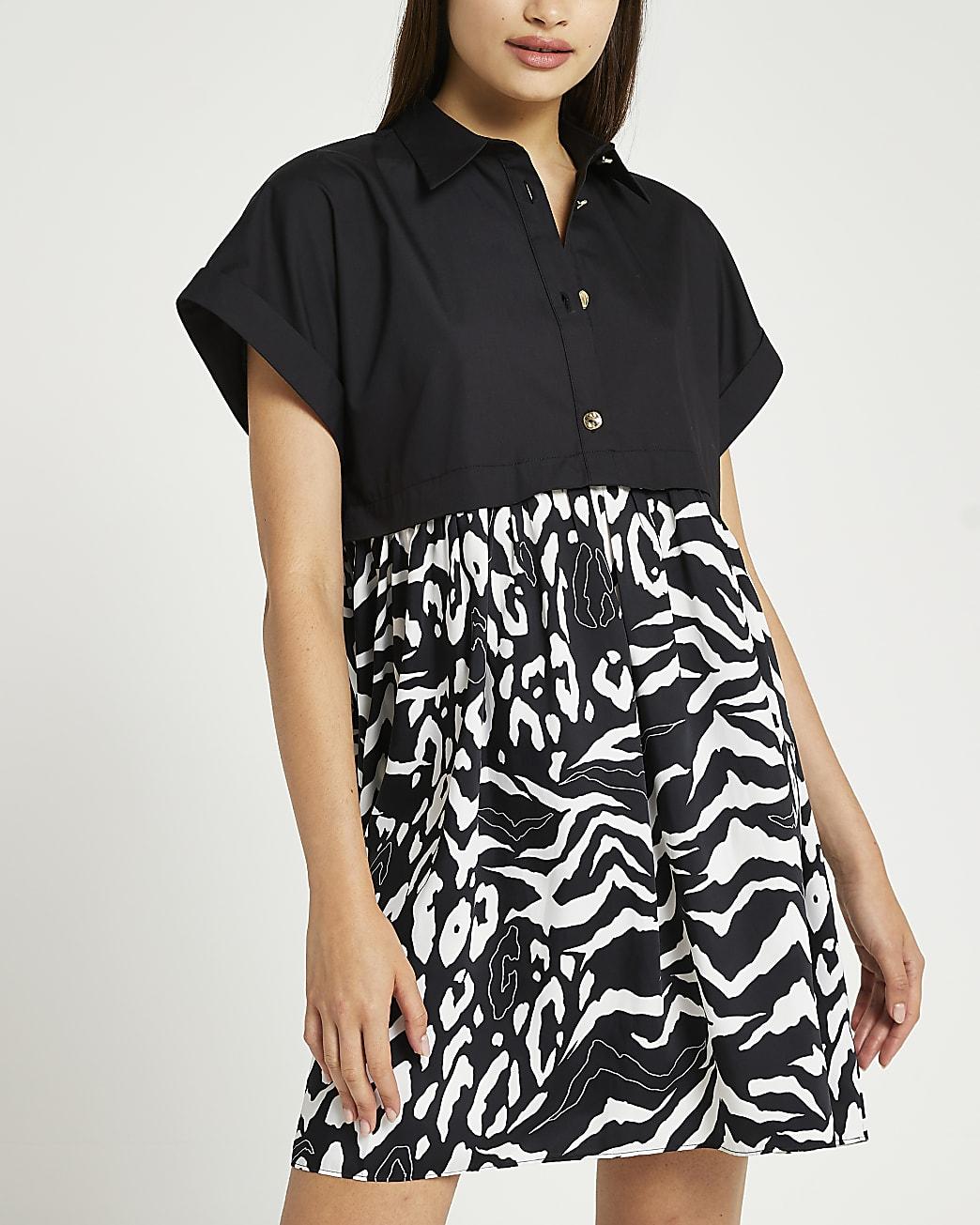 Black animal print mini shirt dress