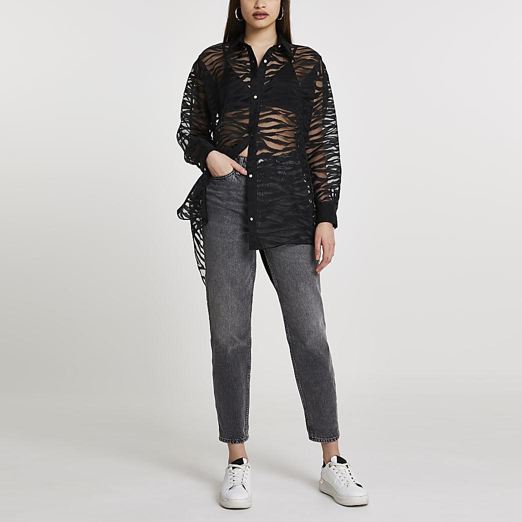 Black animal print organza oversized shirt
