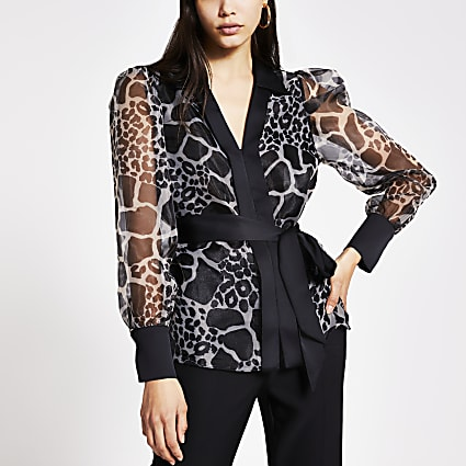 Black animal print organza sheer shirt