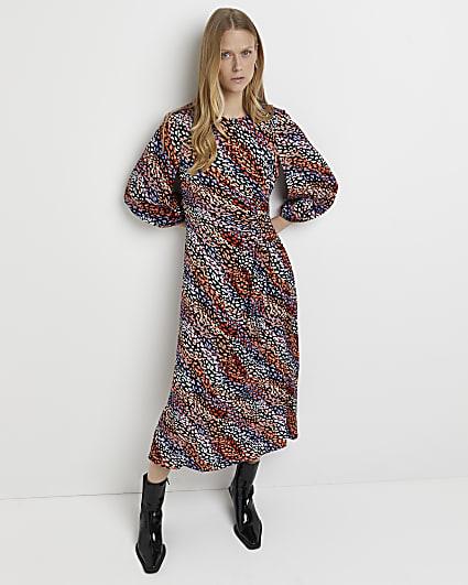 Black animal print ruched midi dress