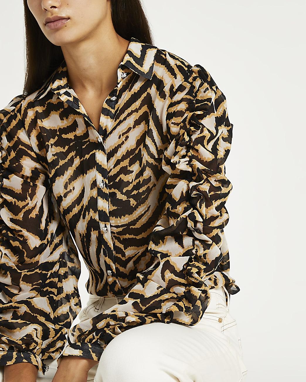 Black animal print ruched shirt