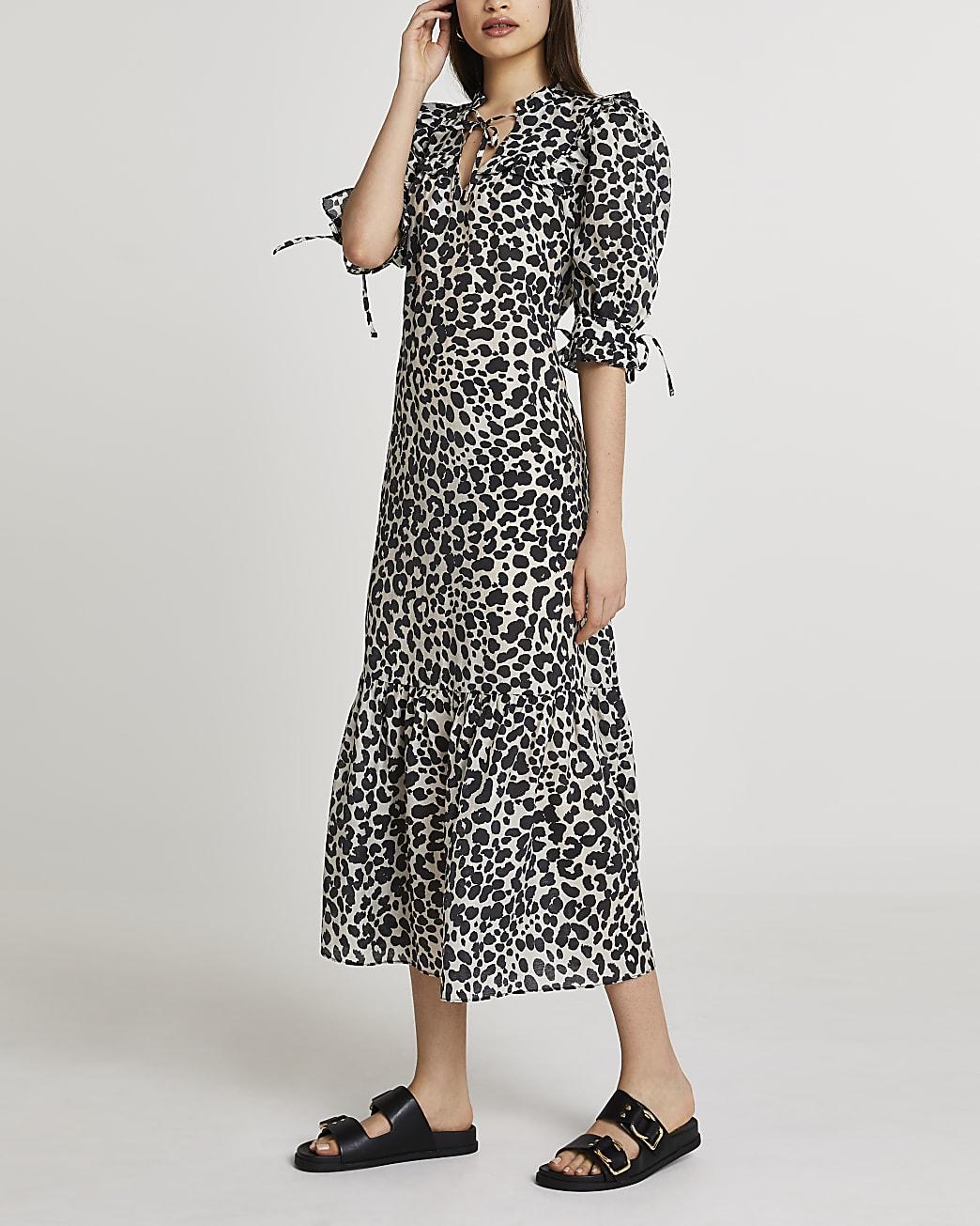 Black animal print smock dress