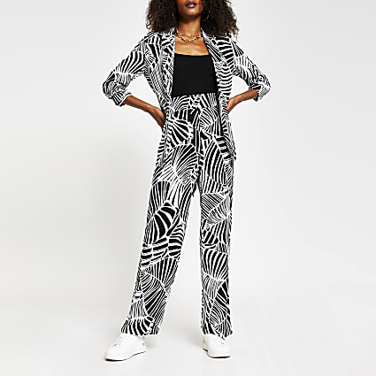 Black animal print soft wide trouser