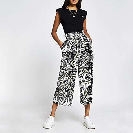 Black animal print tie culottes