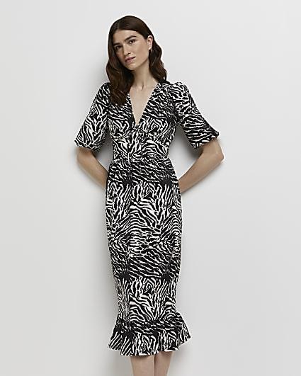 Black animal print tie front midi dress