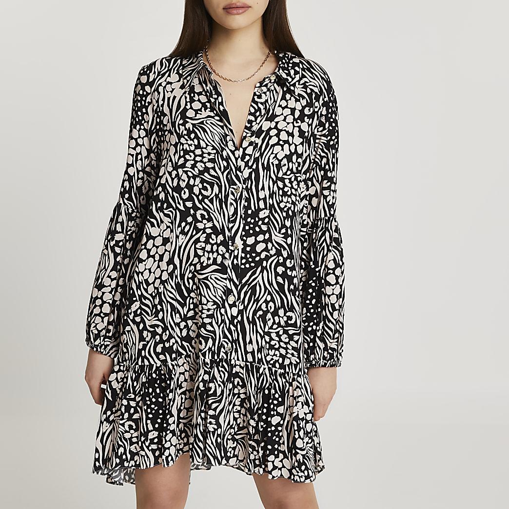 Black animal printed mini shirt dress