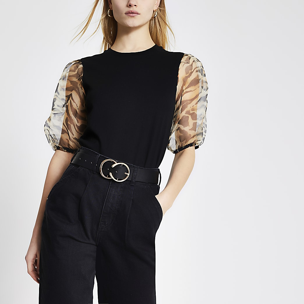 Schwarzes T-Shirt mit Organza-Ärmeln mit Animal-Print