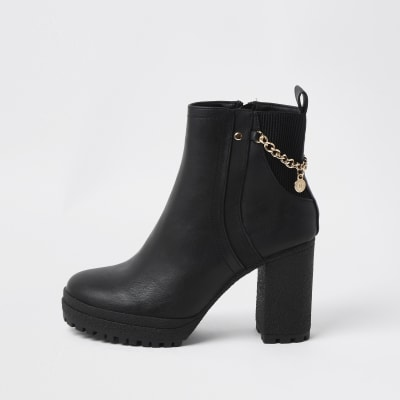 black ankle boots with chain detail  river island