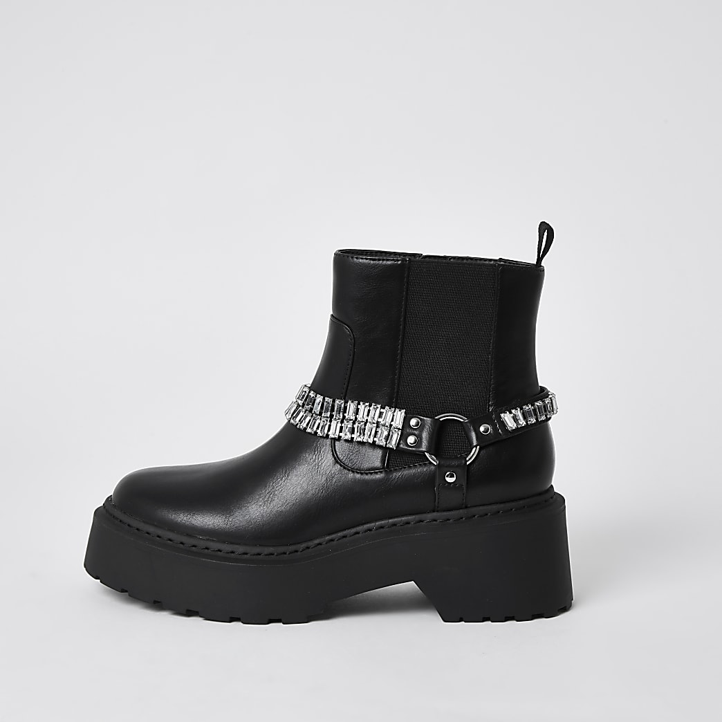 Black ankle chain embellished boots