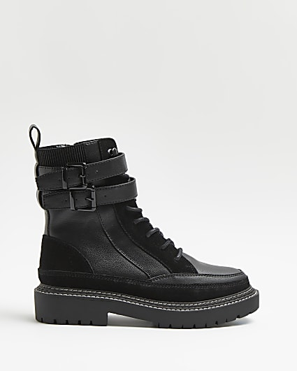 Black ankle strap boots