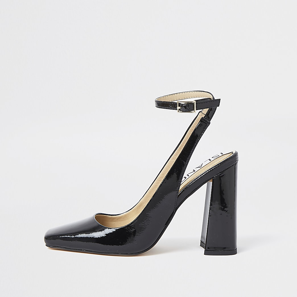Black ankle tie block heels