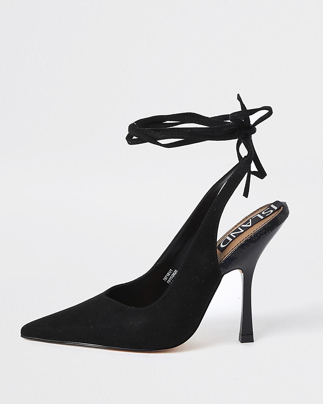 Black ankle tie court heels