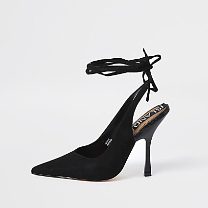 Black ankle tie court heels