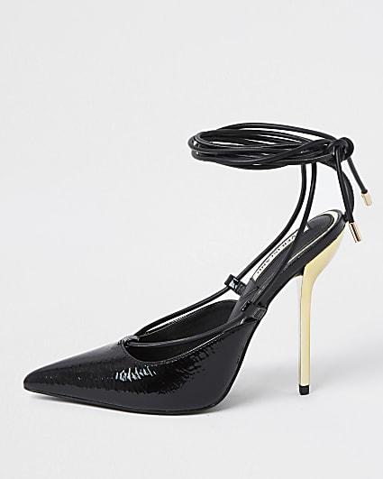 Black ankle tie court shoes