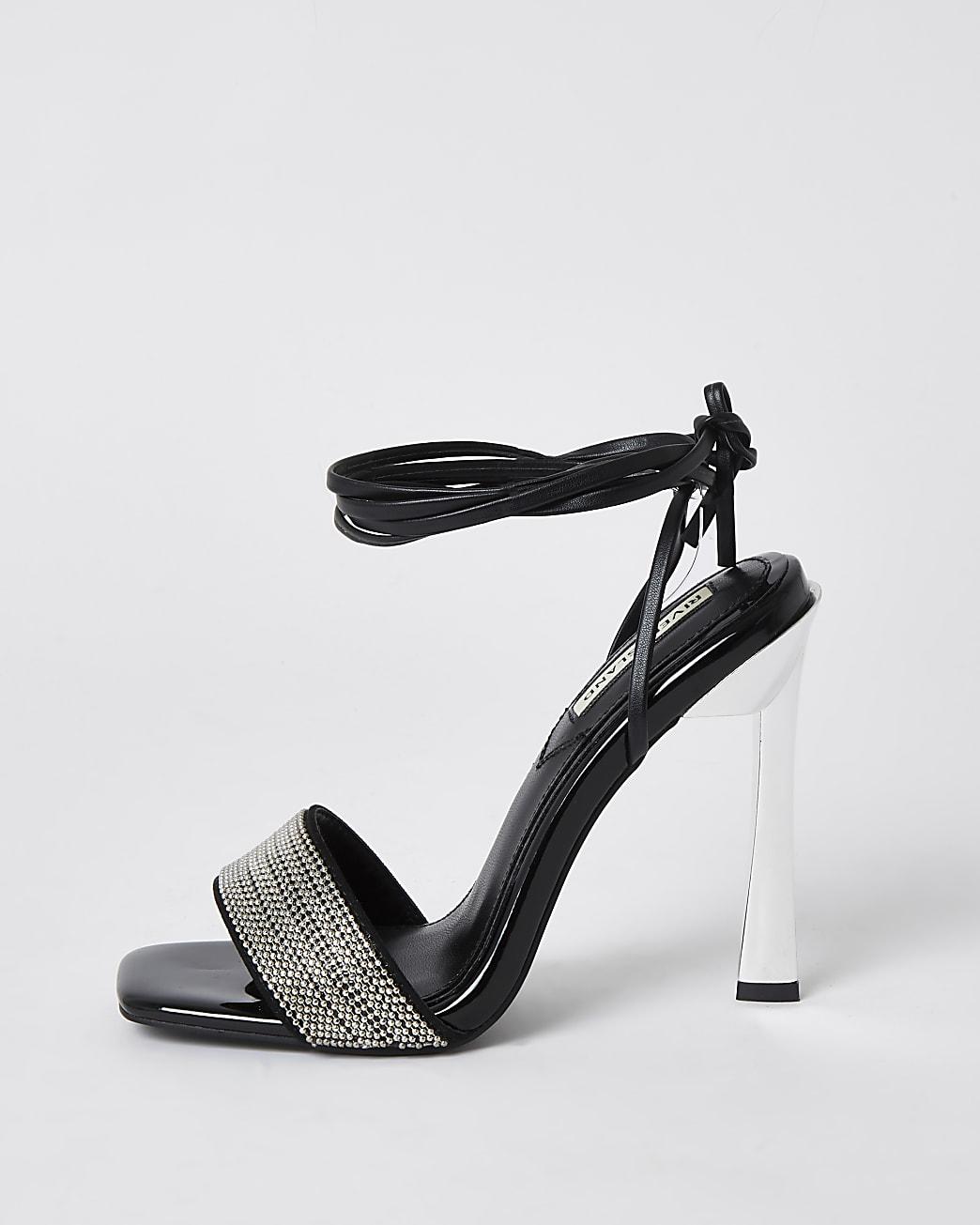 Black ankle tie heeled sandals