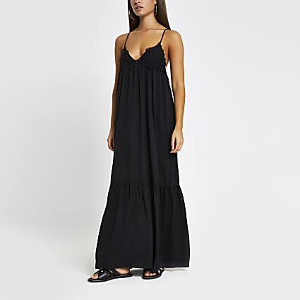 Black applique cami maxi beach dress
