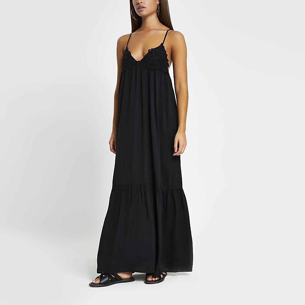 Black applique cami maxi beach dress