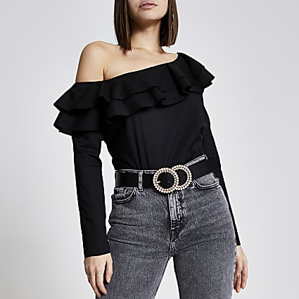Black asymmetric bardot frill blouse