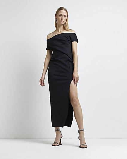 Black asymmetric bardot maxi dress