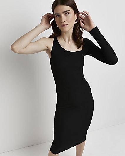 Black asymmetric bodycon midi dress
