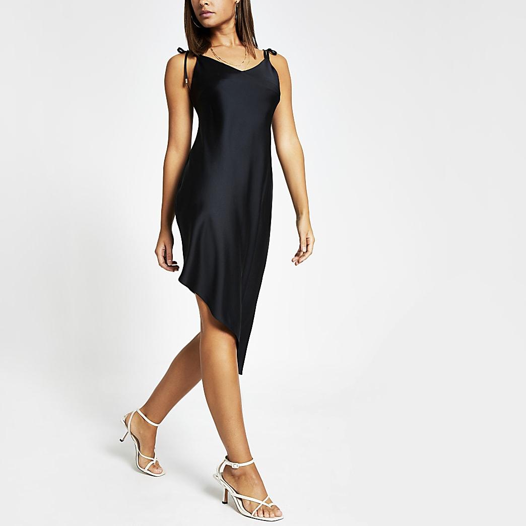 Black asymmetric cami strap midi slip dress