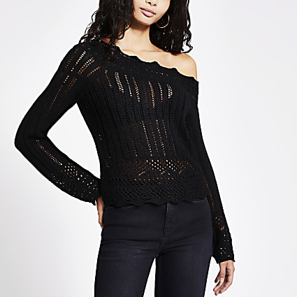 Black asymmetric crochet knitted top