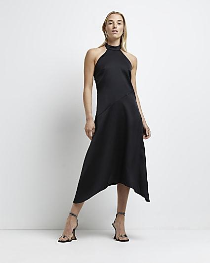 Black asymmetric halter neck midi dress