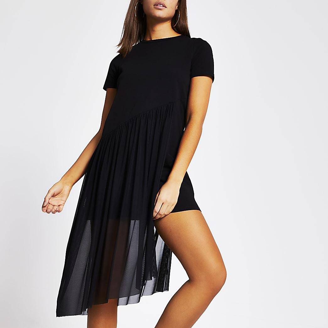 Black asymmetric mesh mini T-shirt dress
