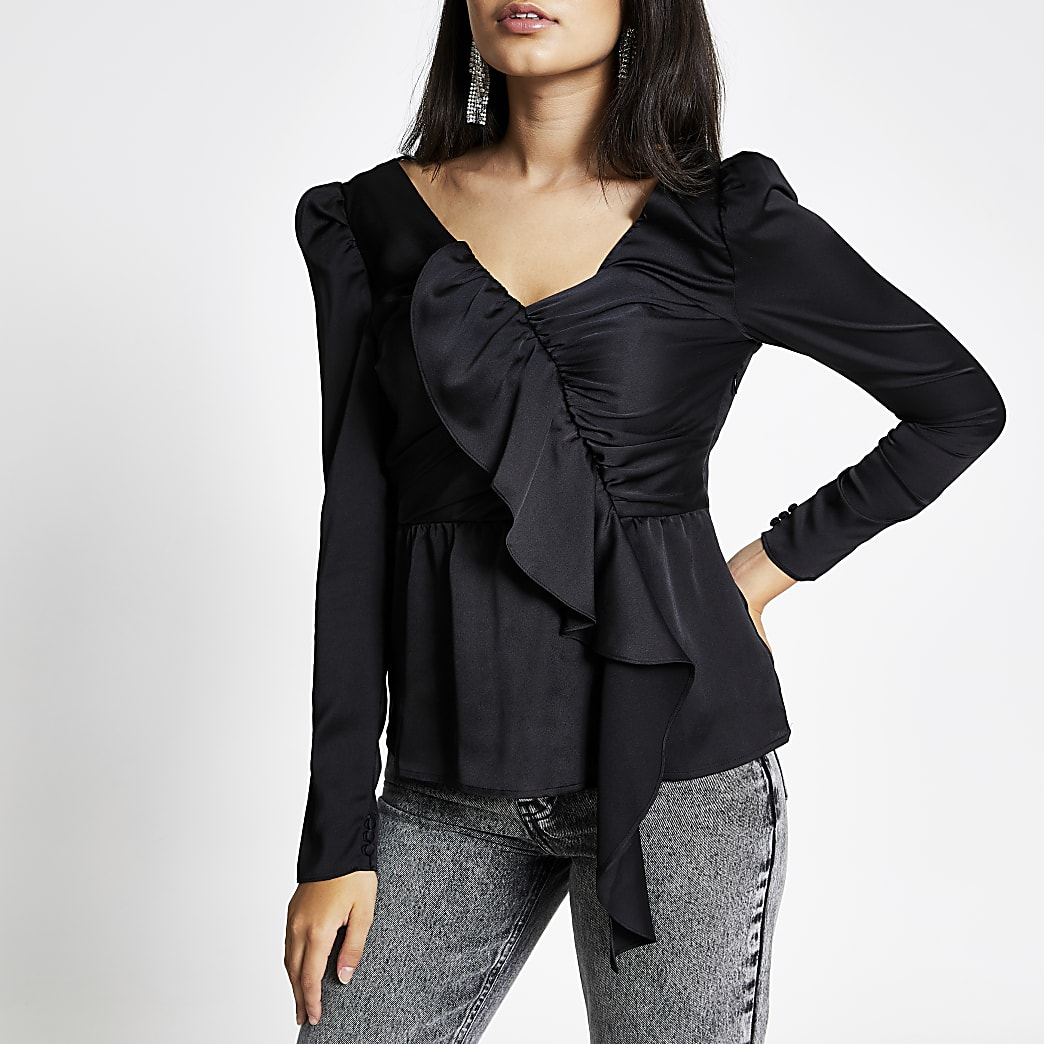 Black asymmetric ruched long sleeve top