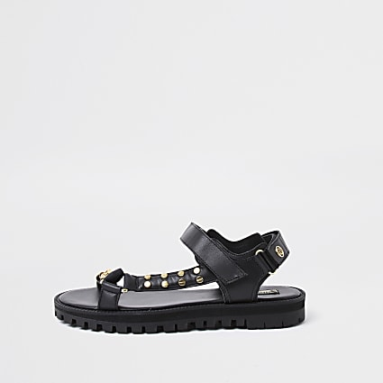 Black asymmetric sporty sandal