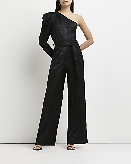 Black asymmetric wide leg jumpsuit