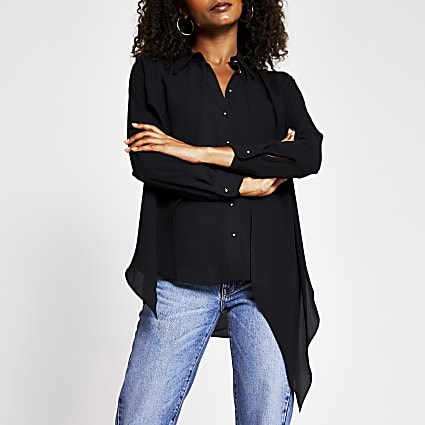 Black asymmetrical front frill shirt