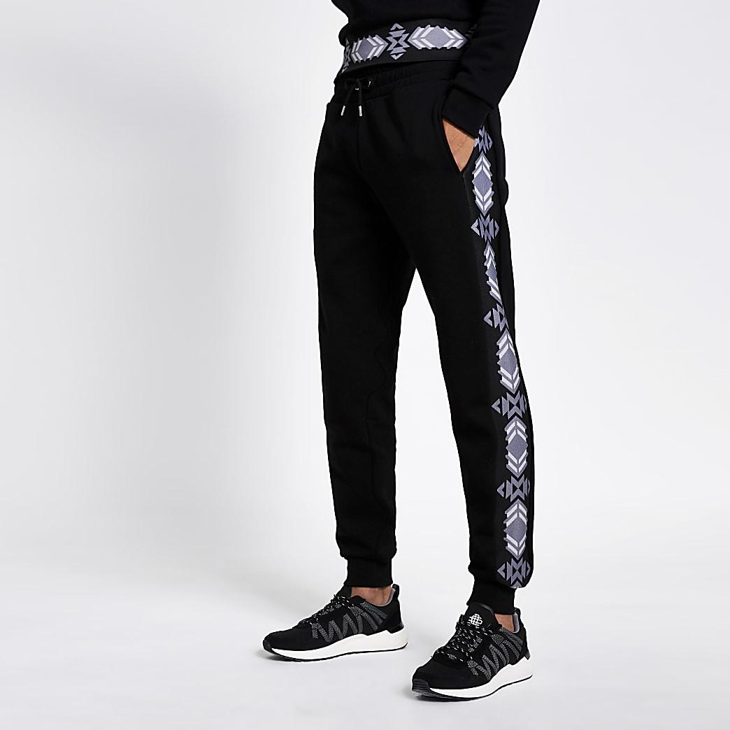 Schwarze Slim Fit Jogginghose mit Azteken-Muster