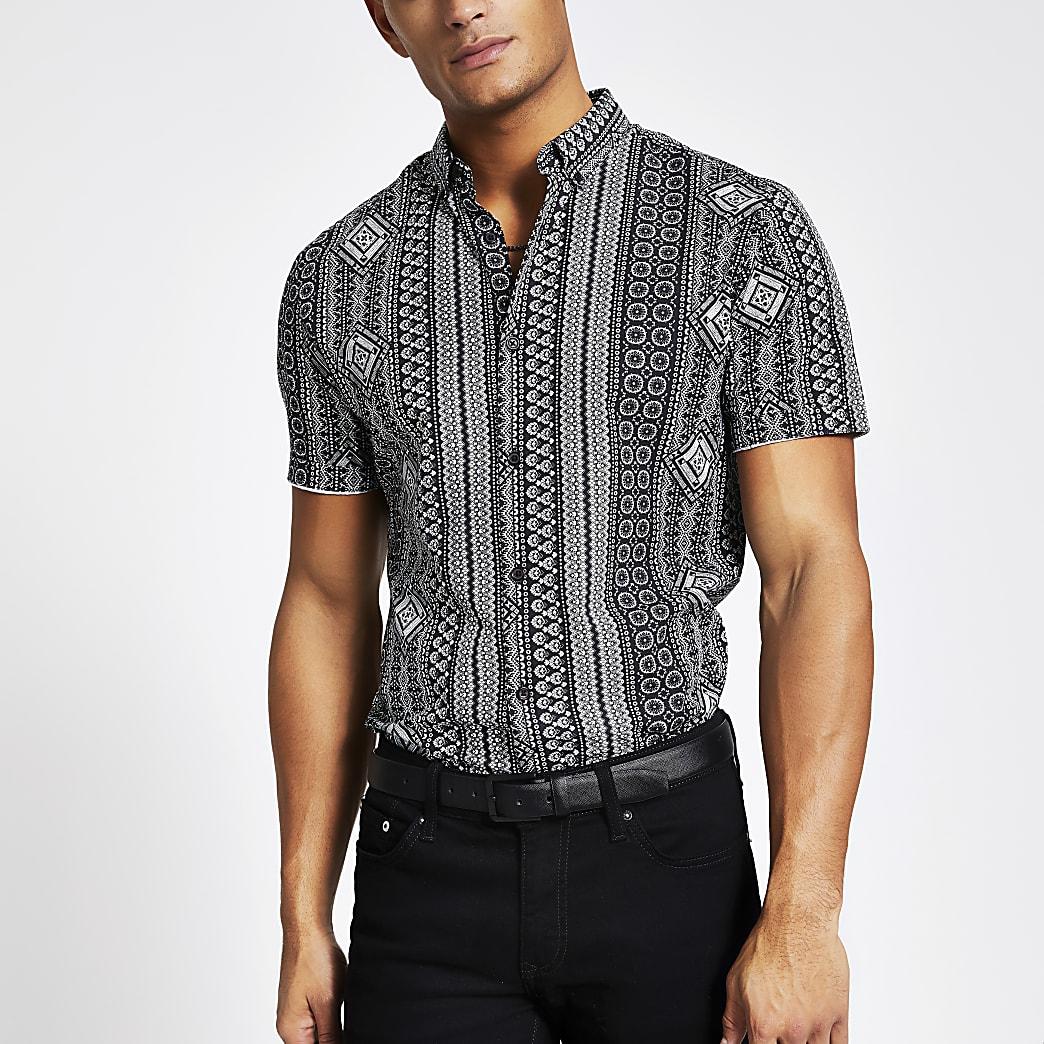 Black aztec stripe slim fit shirt