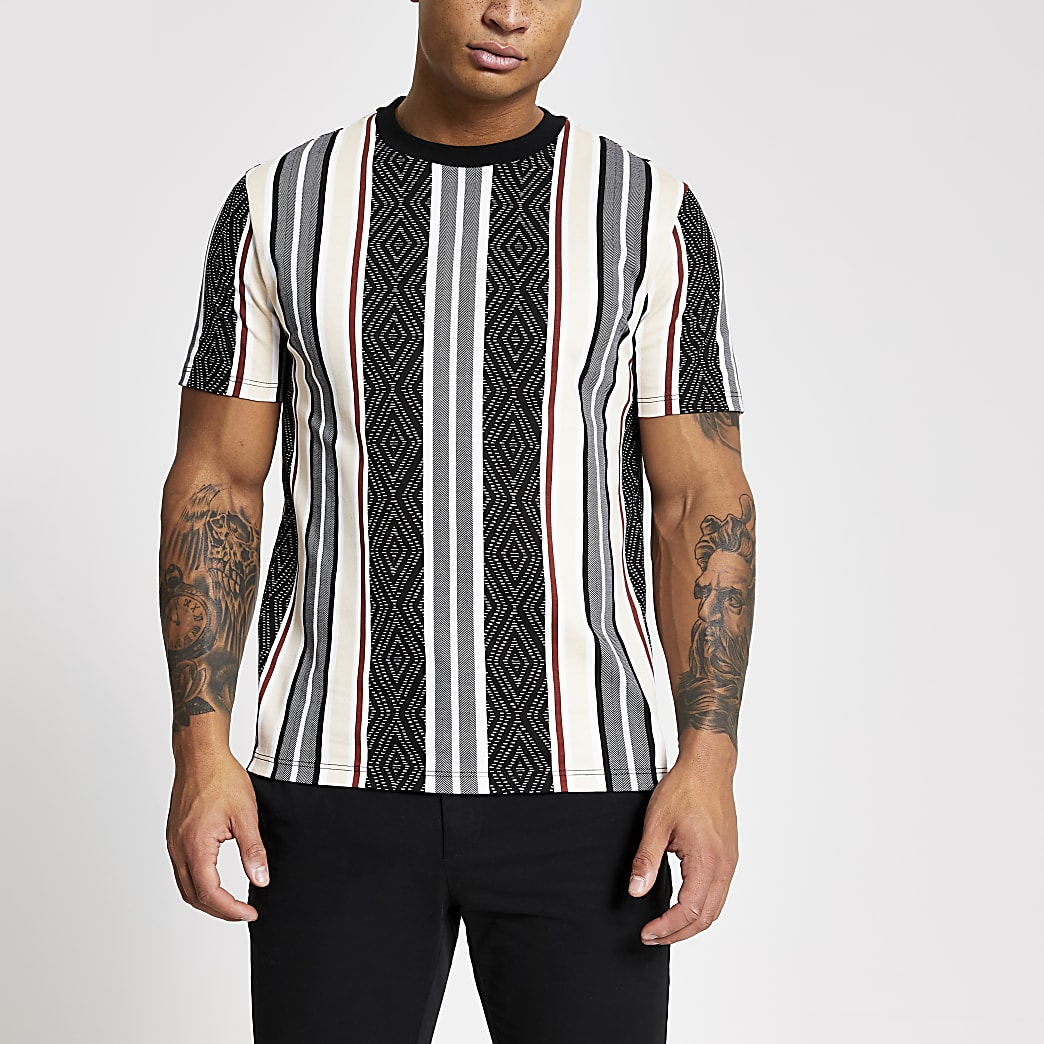 Black aztec stripe slim fit T-shirt