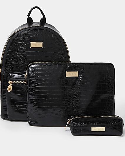 Black backpack and laptop case set
