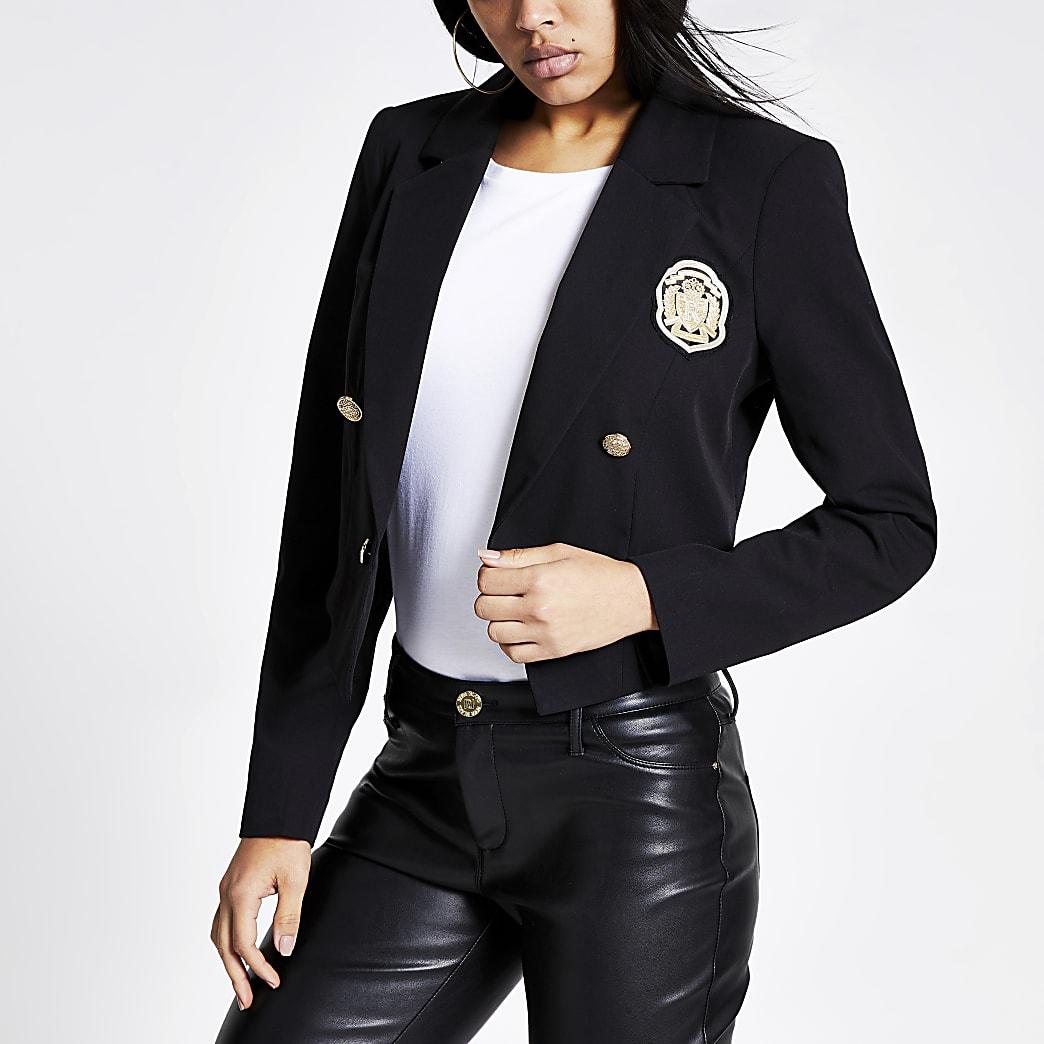 Black badge embellished cropped blazer